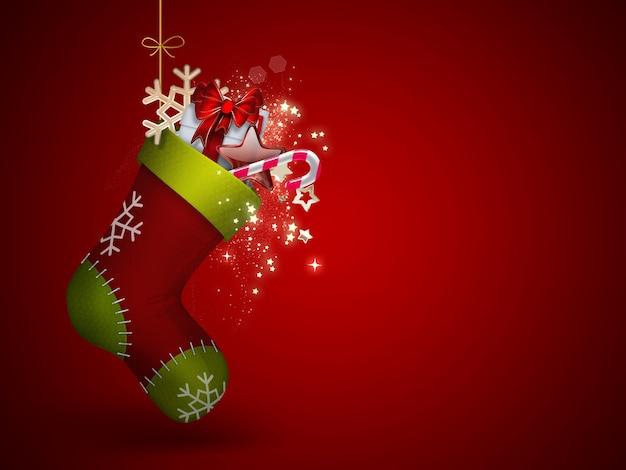 Рождественский носок с подарками - праздничный фон