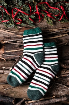 Christmas socks ready for getting candies