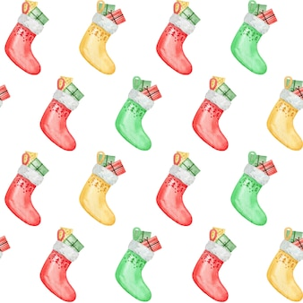 Christmas socks with presents, gift digital paper, watercolor seamless pattern design, baby backdrop