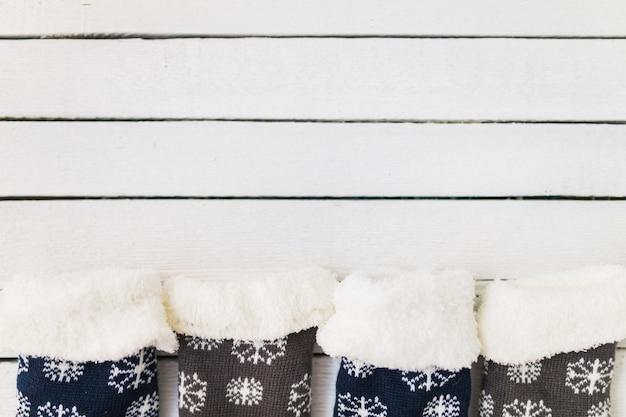 Christmas socks on wood desk