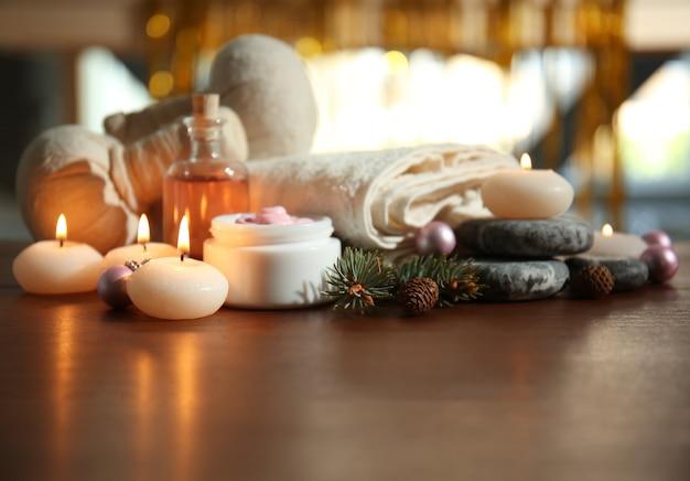 Рождественский спа-состав на столе