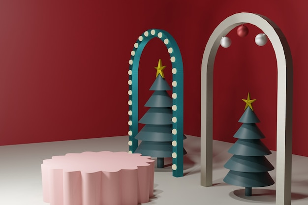 Christmas stage, podium christmas theme
