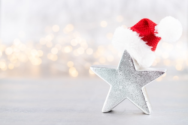 Christmas star, decor. christmas or new year minimal concept.