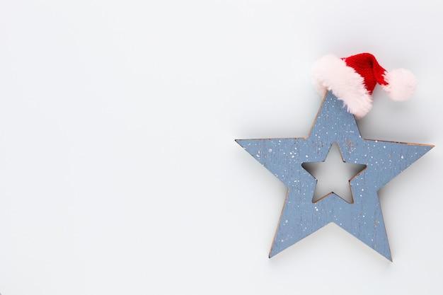 Christmas star decoration. christmas star on blue background.