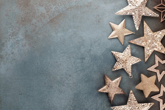 Christmas star decorations collection for mock up template design. view from above. flat lay