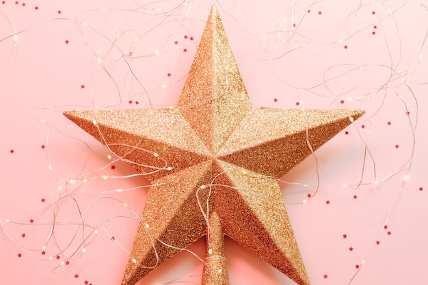 Christmas star figure with glitter and fairy lights