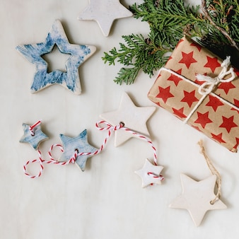 Christmas stars and gifts