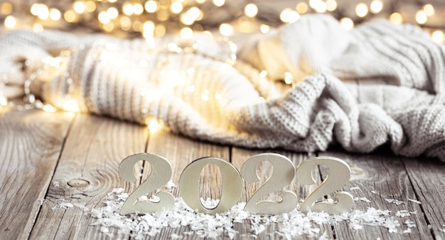 Christmas still life with decorative number decor details on blurred background
