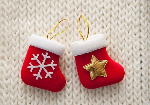 Christmas stocking on white background.