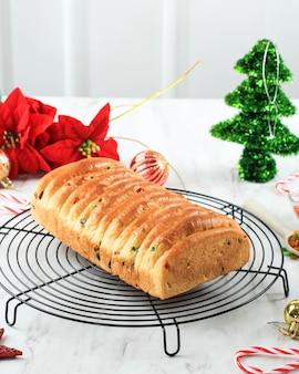 Christmas stollen. traditional sweet fruit loaf german bread,