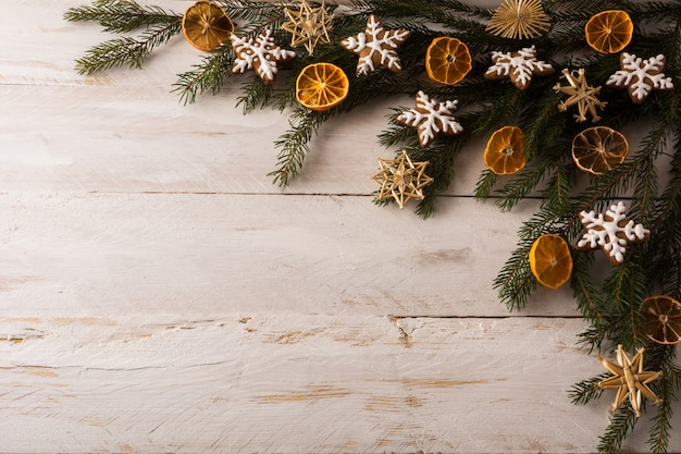 Christmas straw ornaments background