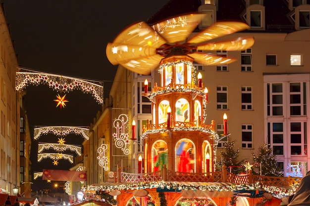 Christmas street at night in dresden, germany