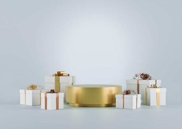 金色のプラットフォームとギフトを備えたクリスマススタジオのインテリア。スタンド、表彰台、商品の台座。