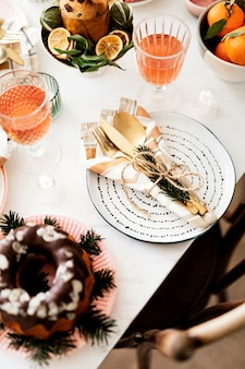 Christmas table decor for a family dinner