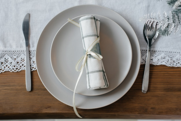 크리스마스 테이블 설정. 장식 휴일.