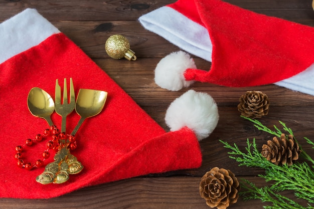 Christmas tableware set, decor festive background, flat lay top view