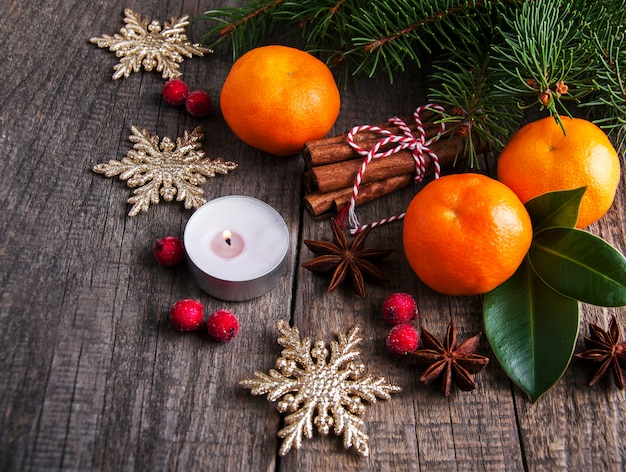 Christmas tangerines and decorations