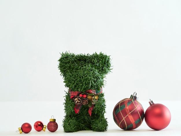 Christmas teddy bear and decorations