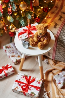 Christmas teddy bear soft toy with christmas tree