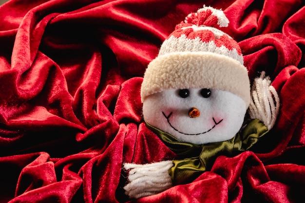 Christmas teddy on red velvet