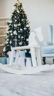 Christmas themed photo.winter holiday interior decorations.blue christmas.