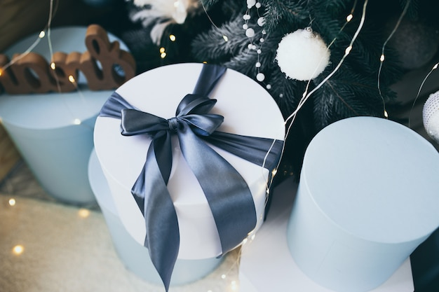 Christmas themed photo.winter holiday interior decorations.blue christmas.