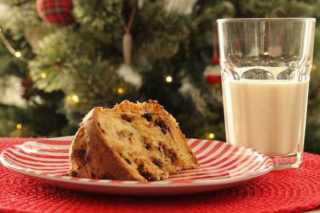 Christmas time: delicious slice of panettone with chocolate chunks and a glass of milk