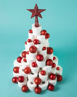 Christmas toilet paper tree with red christmas balls