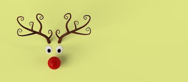 크리스마스 장난감 추상 순록 배너입니다. 공간을 복사합니다. 3d 그림입니다.