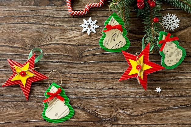 Christmas toy gift firtree handmade project of childrens creativity handicrafts