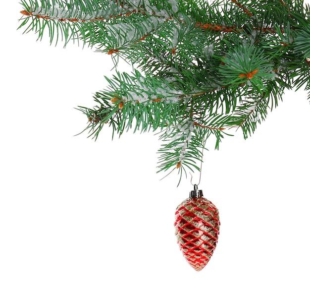 白で隔離されるモミの枝のクリスマスのおもちゃ