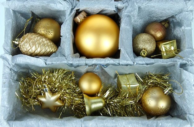 Christmas toys in wooden box close-up