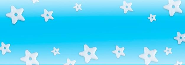 青い背景の上のクリスマスの伝統的なクッキーベーカリースターパターン。クリスマスと新年のコンセプトバナーフレームの境界線の背景。