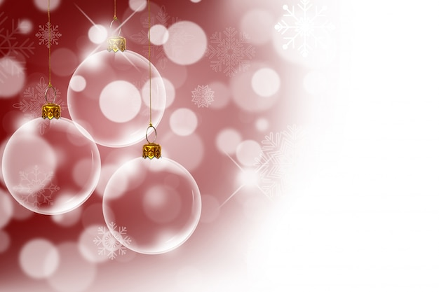 Christmas transparent balls with bokeh background