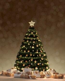 夜にボケライトの降雪で下のクリスマスツリーと装飾ギフトボックス