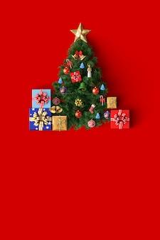 Рождественская елка и украшение веселая рождественская открытка