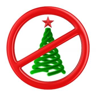 Рождественская елка и запретный знак. изолированный 3d-рендеринг