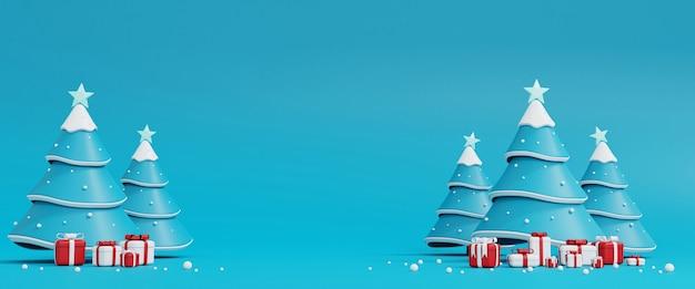 블루에 크리스마스 트리와 선물 상자