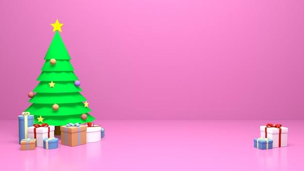 クリスマスツリーとギフトボックス。クリスマスや年賀状やポスターの作成に最適です。孤立したピンクの背景。