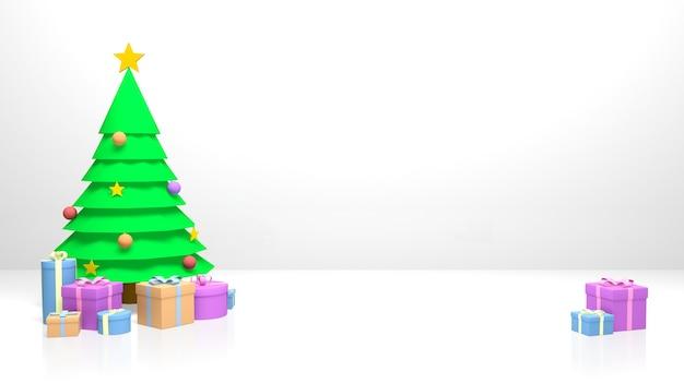 クリスマスツリーとギフトボックス。クリスマスや年賀状やポスターの作成に最適です