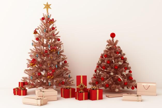 메리 크리스마스 3d 렌더링을위한 장식 및 선물 상자 크리스마스 트리와 핑크 골드 풍선