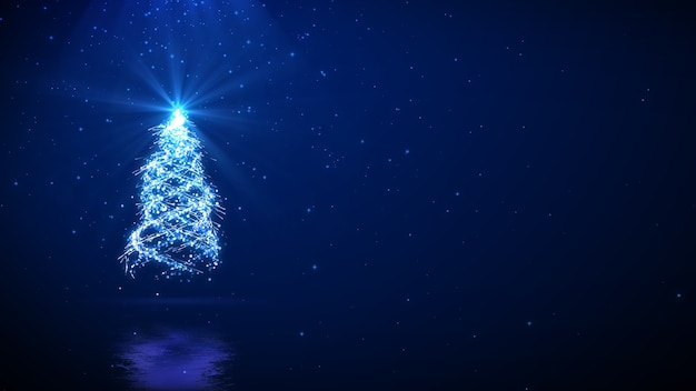 Christmas tree on blue background with copy space for your text