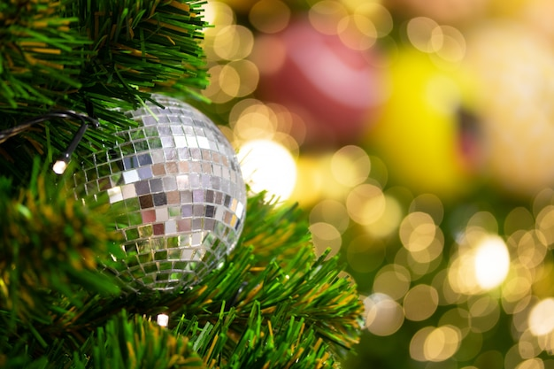 Christmas tree and blur light background