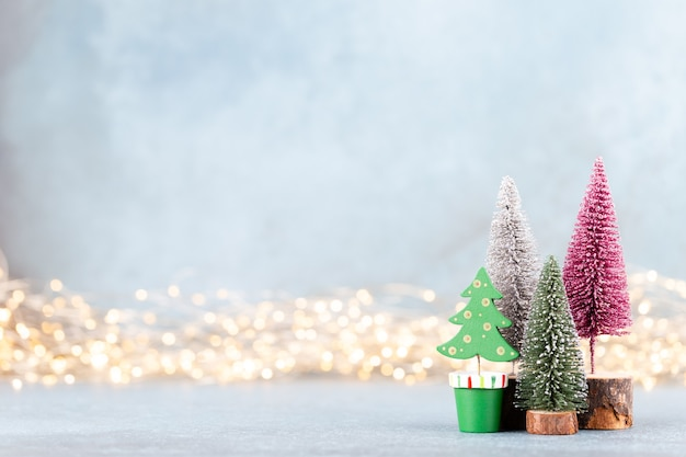 Christmas tree on bokeh background. christmas holiday celebration concept. greeting card.