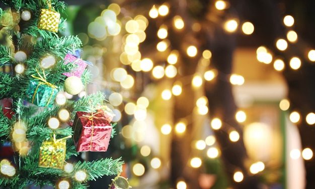 Christmas tree and bokeh of holiday background and have copy space.