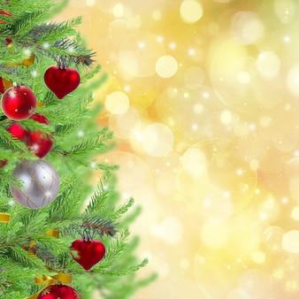 황금빛 반짝이는 배경에 장식된 전나무가 있는 크리스마스 트리 테두리