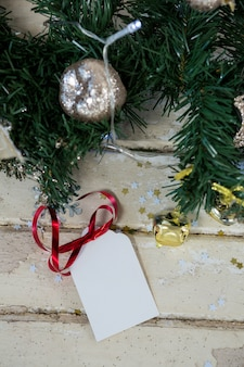 Christmas tree branch with silver ball