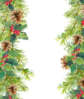 Christmas tree branches seamless frame