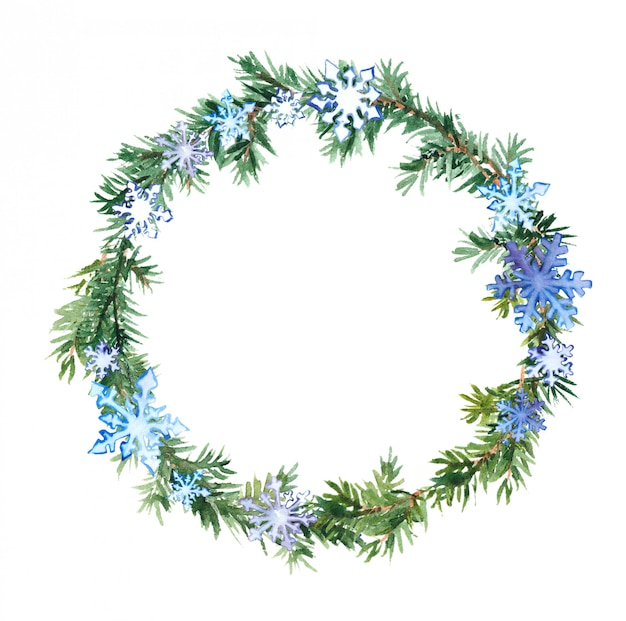 Christmas tree branches and snowflakes wreath
