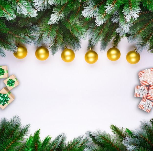 Christmas tree branches on white background with christmas red and gold balls